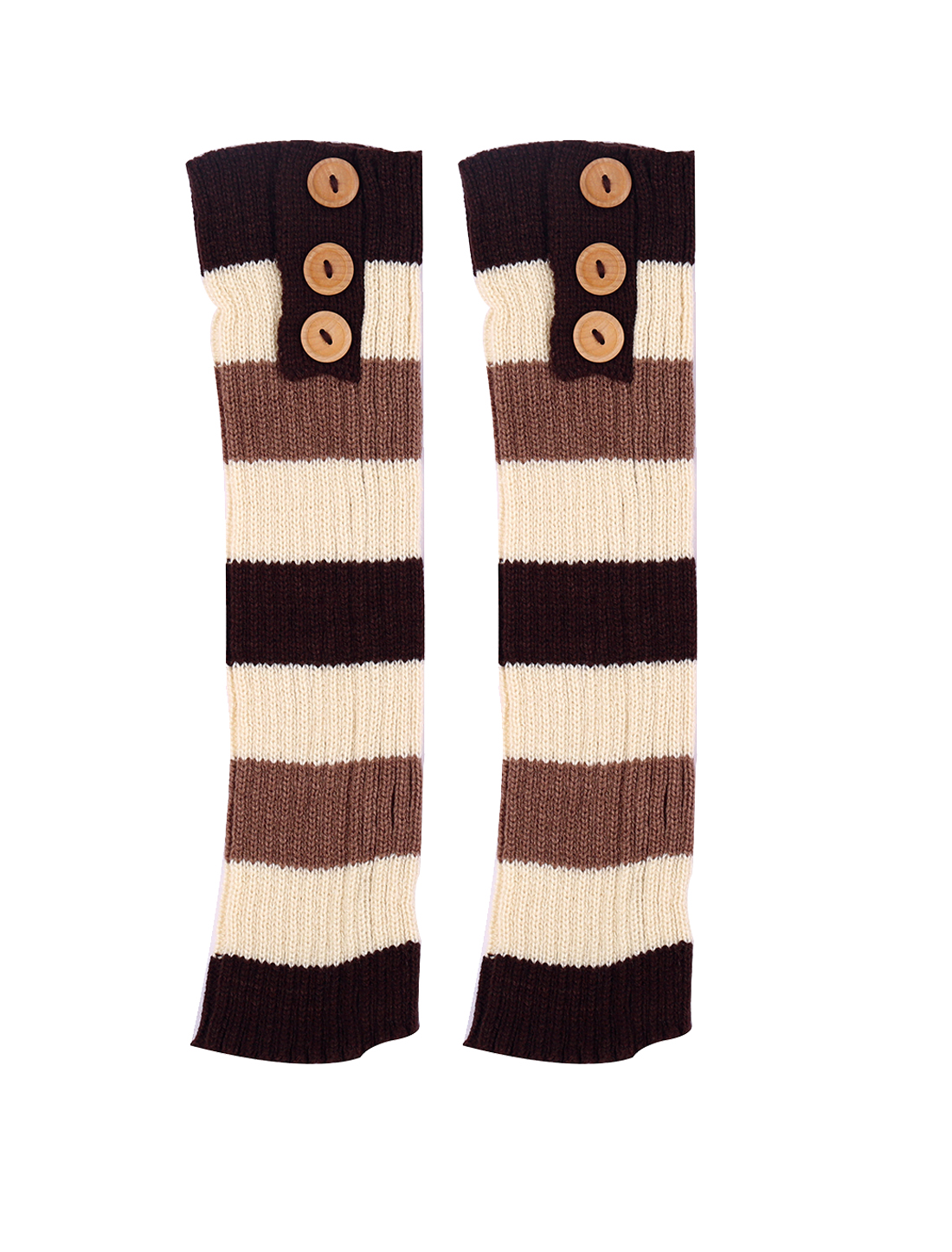 Lady Buttons Decor Knit Contrast Color Stripes Leg Warmers Pair Coffee