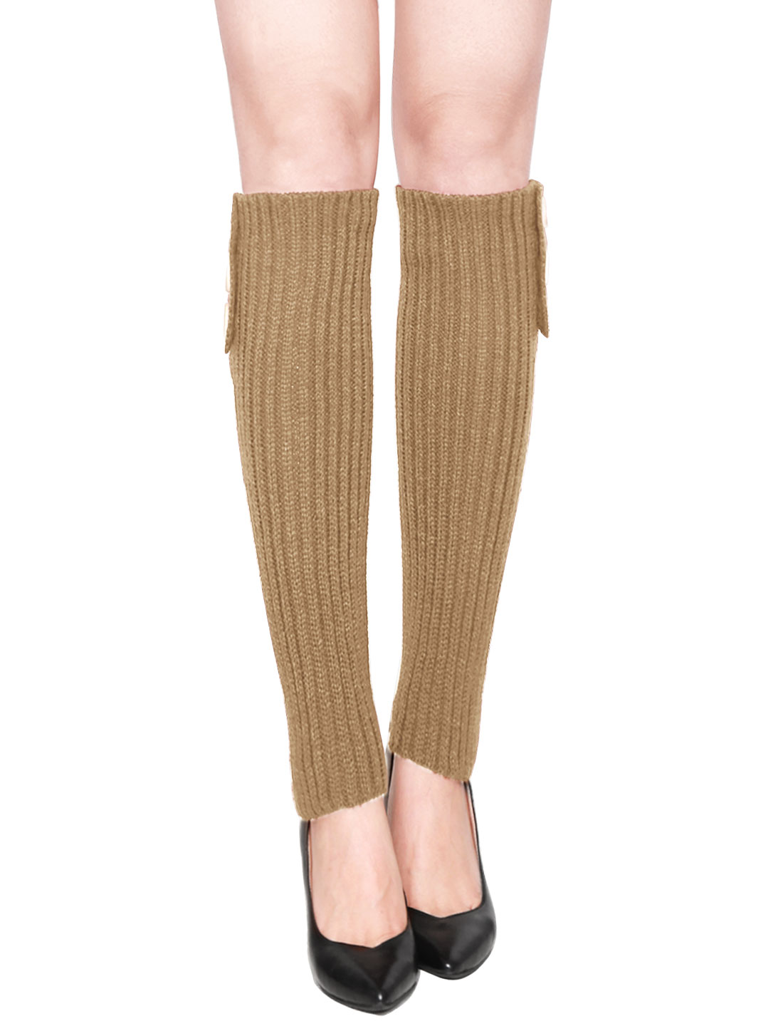 Women Three Buttons Decor Ribbed Knit Knee High Leg Warmers Pair Brown