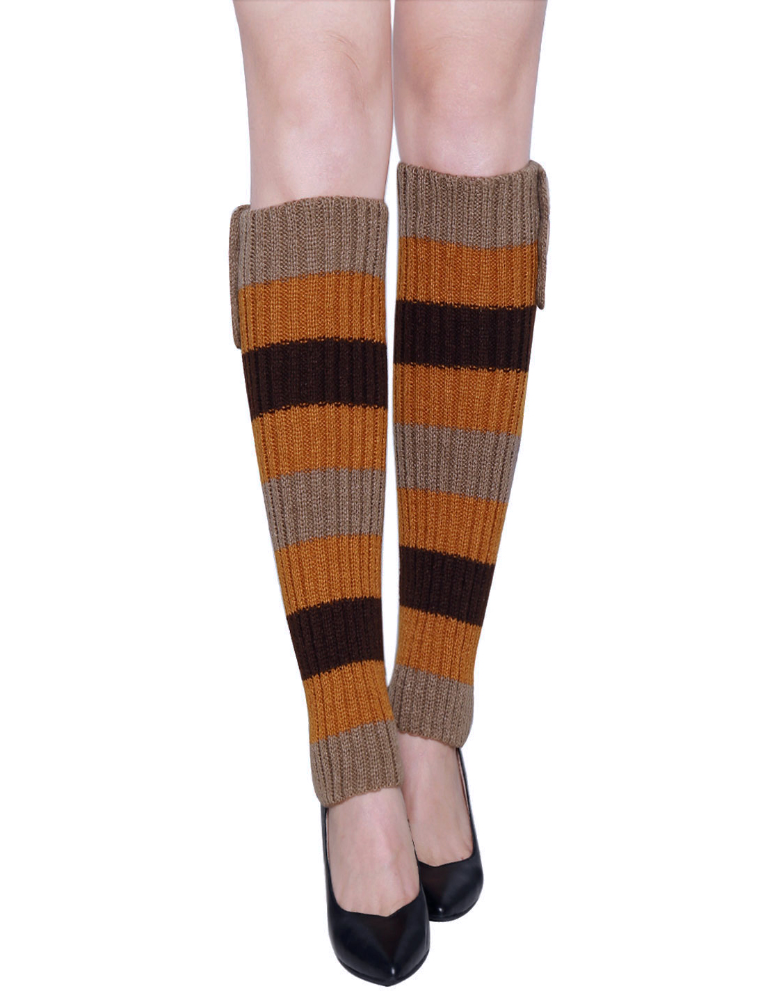 Lady Buttons Decor Knit Contrast Color Stripes Leg Warmers Pair Yellow