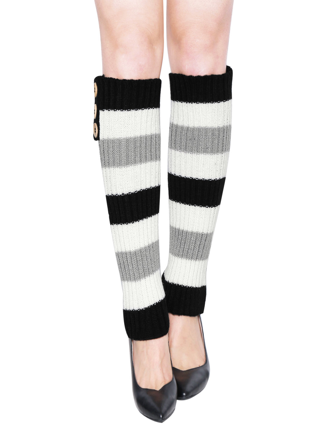 Lady Buttons Decor Knit Contrast Color Stripes Leg Warmers Pair Black