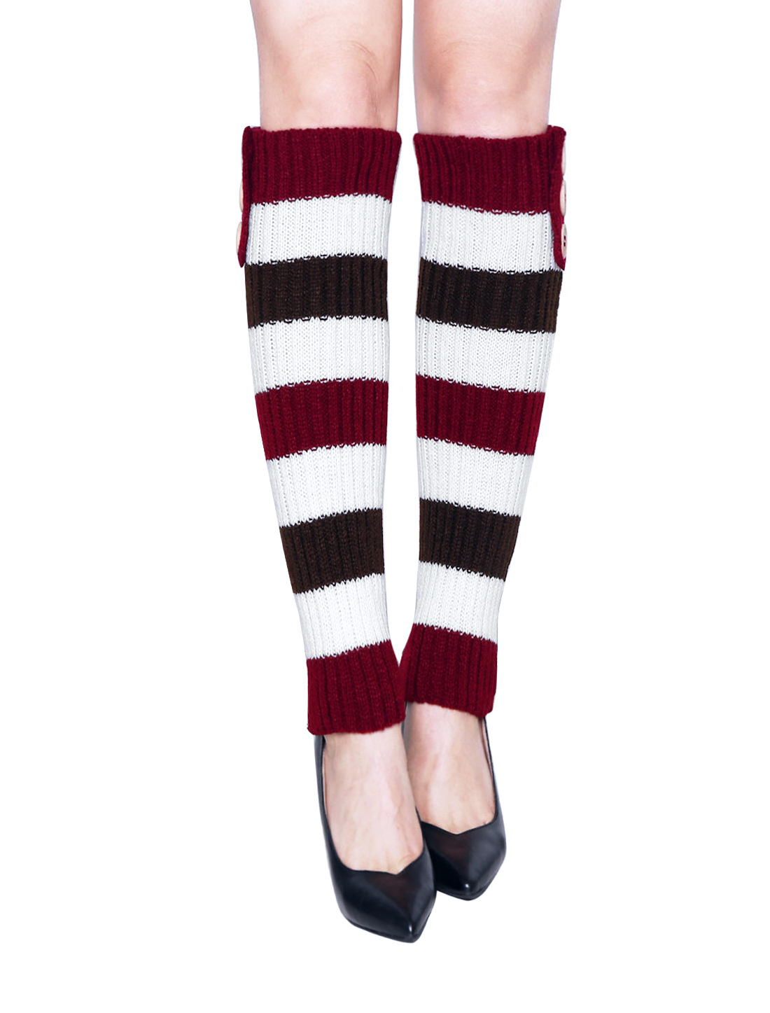 Lady Buttons Decor Knit Contrast Color Stripes Leg Warmers Pair Red