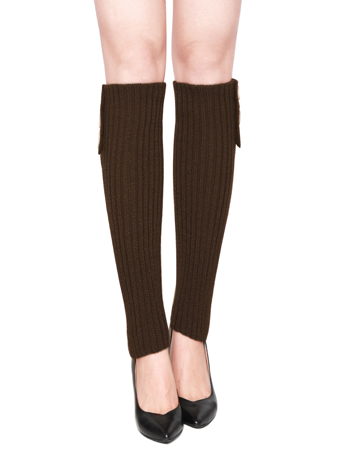 Women Three Buttons Decor Ribbed Knit Knee High Leg Warmers Pair Coffee