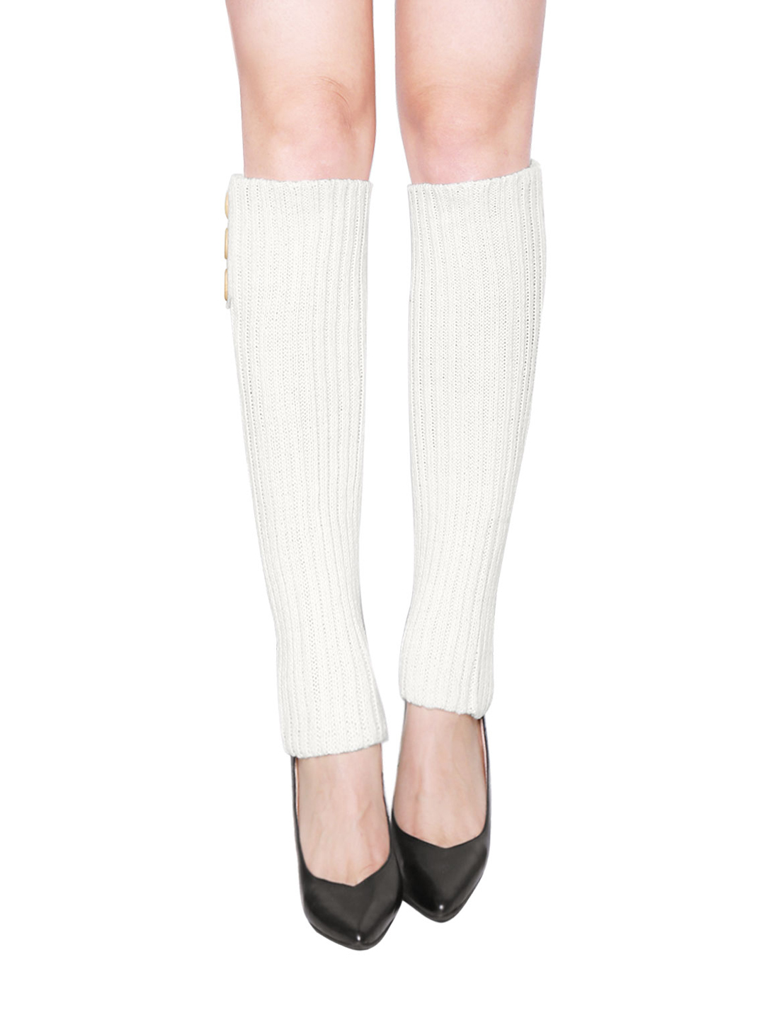 Women Three Buttons Decor Ribbed Knit Knee High Leg Warmers Pair White