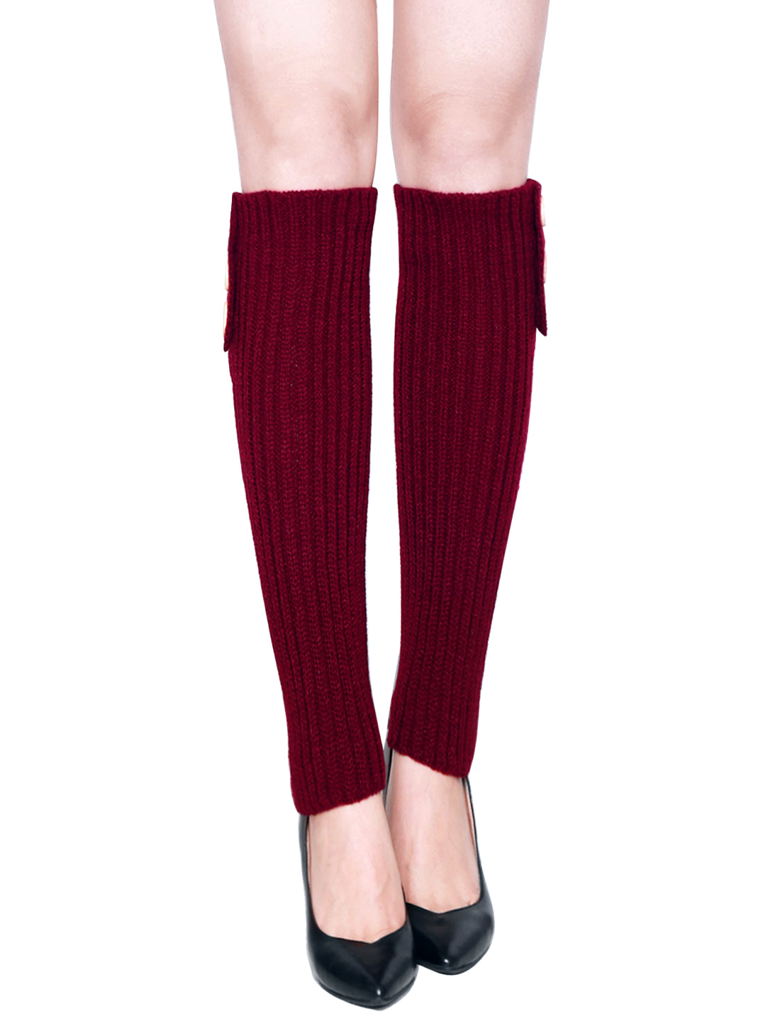 Women Three Buttons Decor Ribbed Knit Knee High Leg Warmers Pair Red