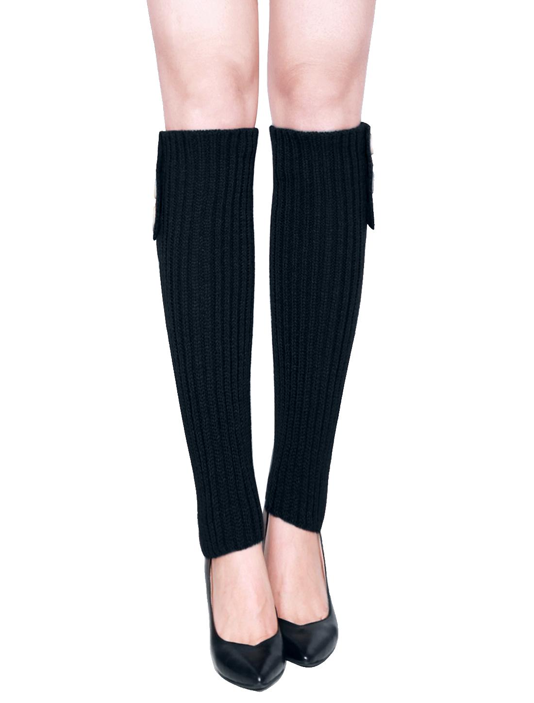 Women Three Buttons Decor Ribbed Knit Knee High Leg Warmers Pair Black