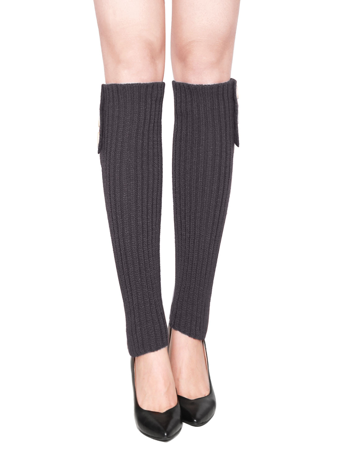 Women Three Buttons Decor Ribbed Knit Knee High Leg Warmers Pair Dark Gray