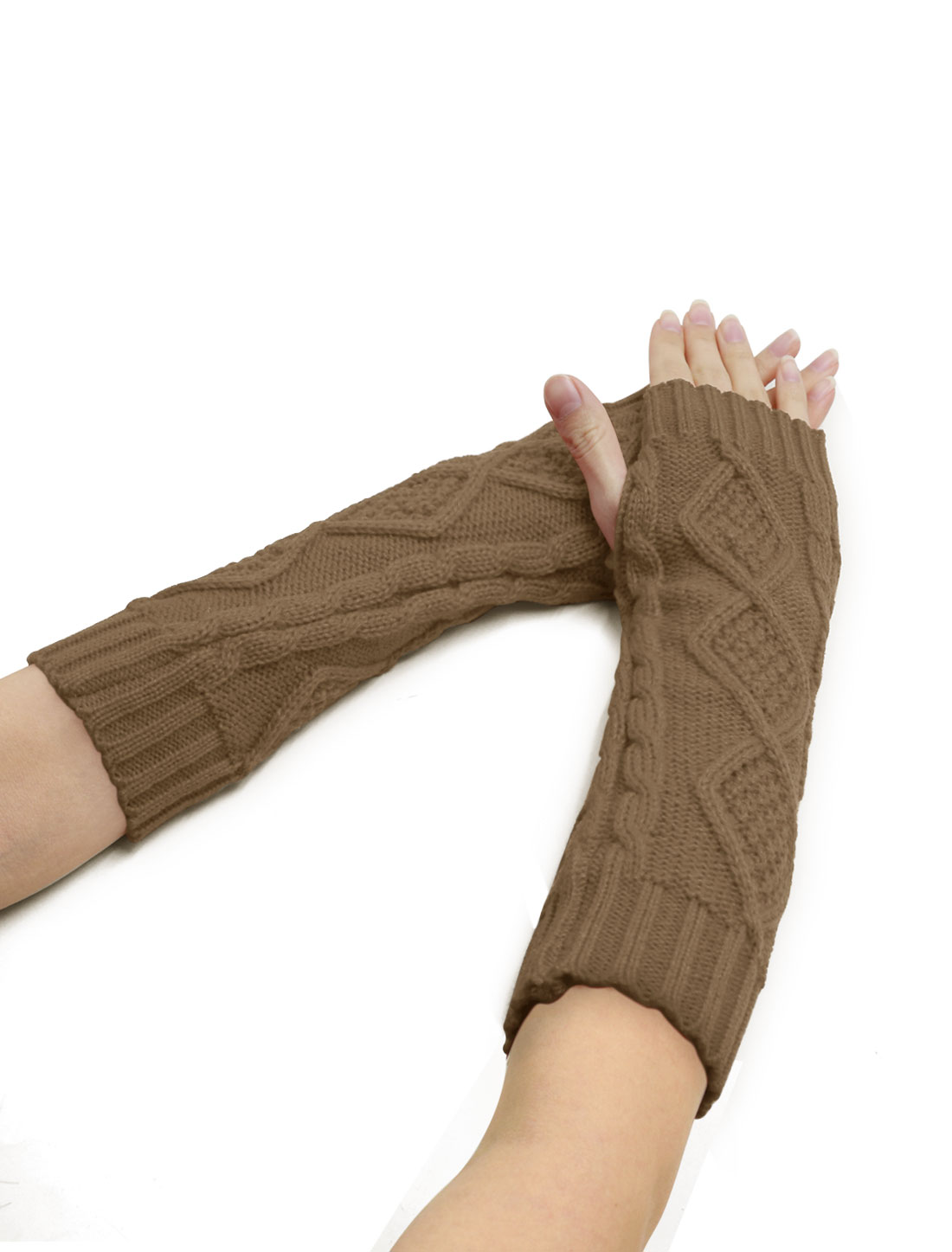 Women Elbow Length Argyle Design Cable Knit Arm Warmers Pair Brown