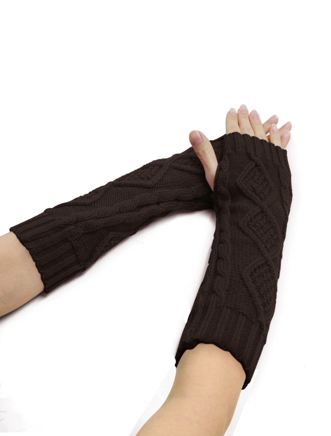 Women Elbow Length Argyle Design Cable Knit Arm Warmers Pair Coffee