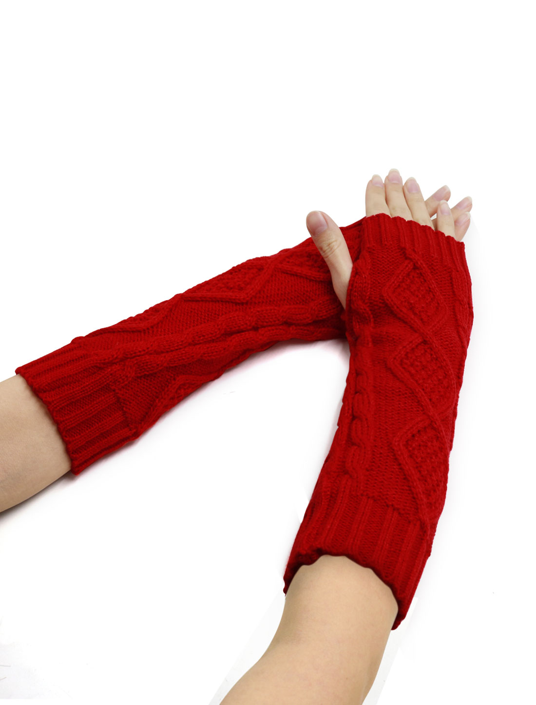 Women Elbow Length Argyle Design Cable Knit Arm Warmers Pair Red