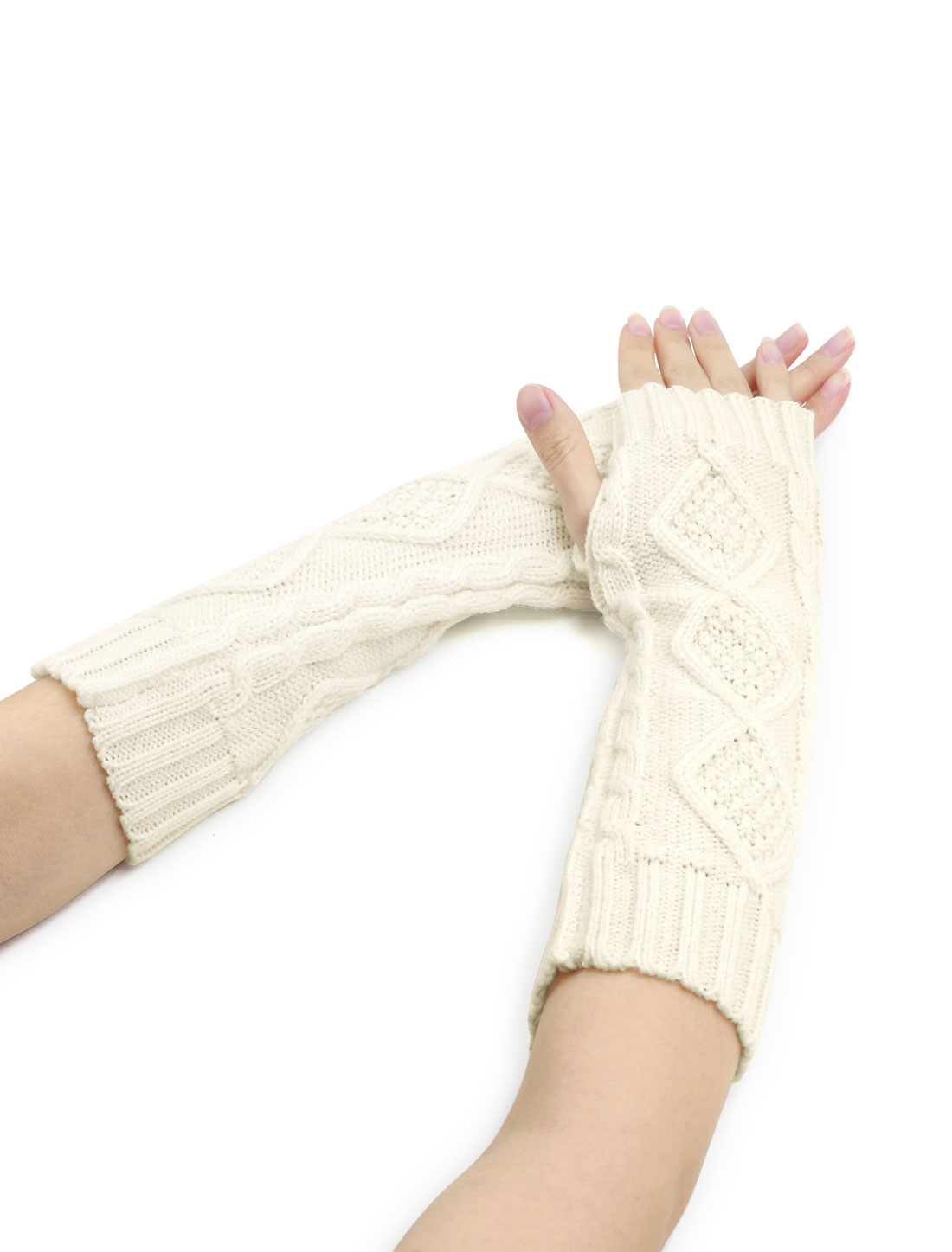 Women Elbow Length Argyle Design Cable Knit Arm Warmers Pair White
