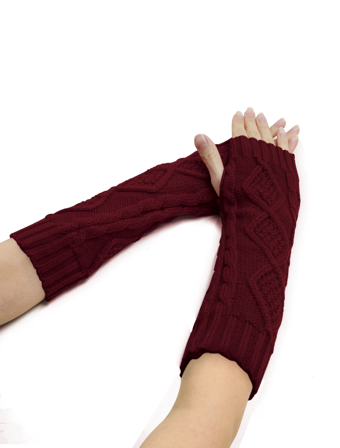 Women Elbow Length Argyle Design Cable Knit Arm Warmers Pair Burgundy