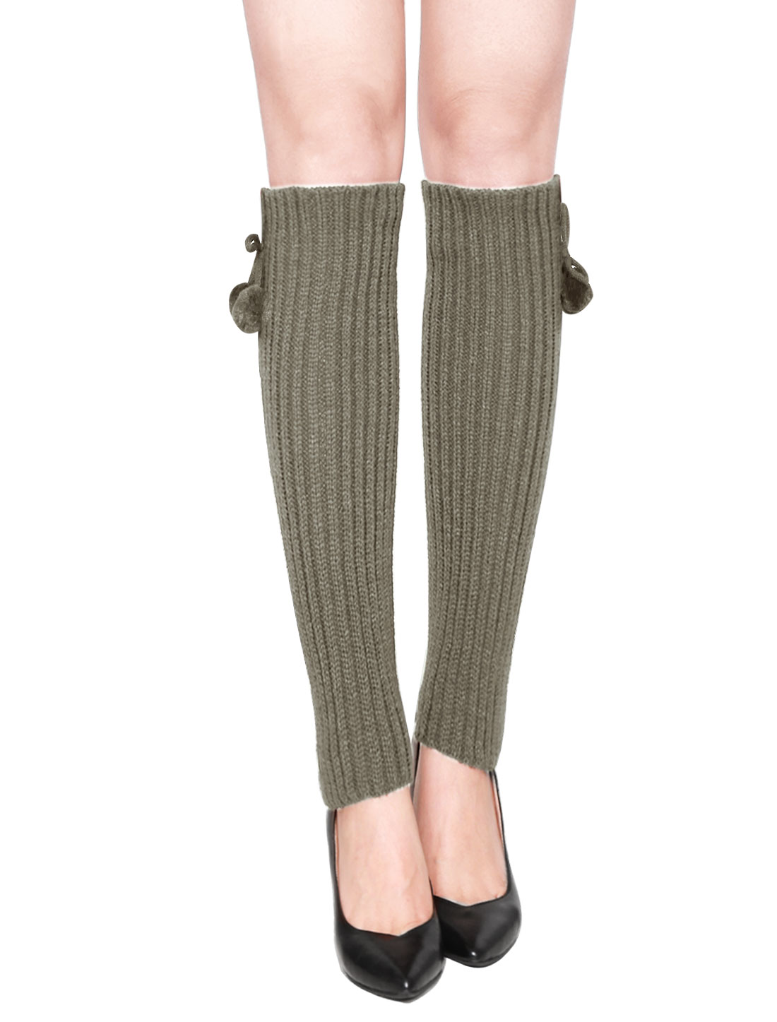 Woman Pom-Pom Decor Ribbed Stretchy Knitted Leg Warmers Pair Light Gray