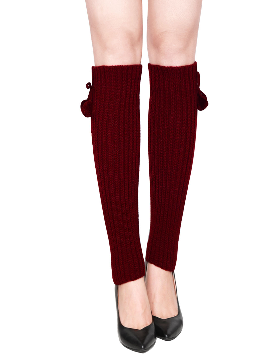 Woman Pom-Pom Decor Ribbed Stretchy Knitted Leg Warmers Pair Red
