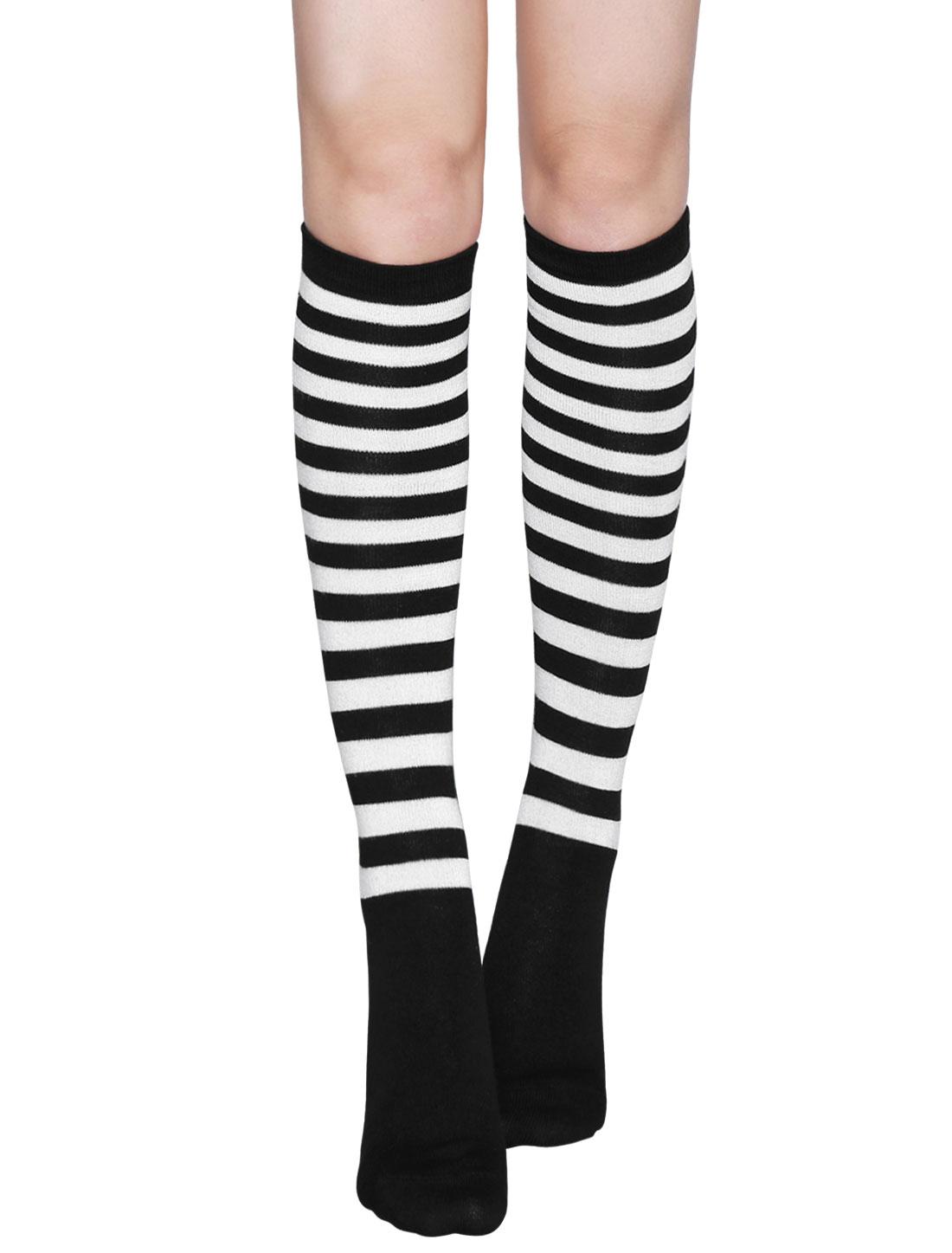 Ladies Stripes Contrast Color Knee High Socks Pair White