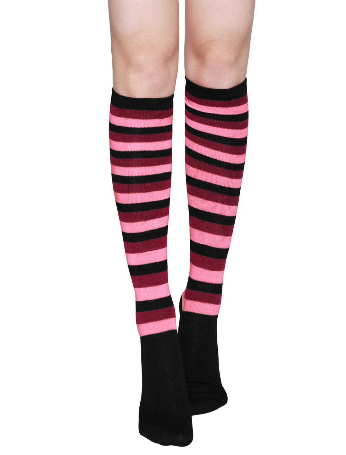 Ladies Stripes Contrast Color Knee High Socks Pair Red