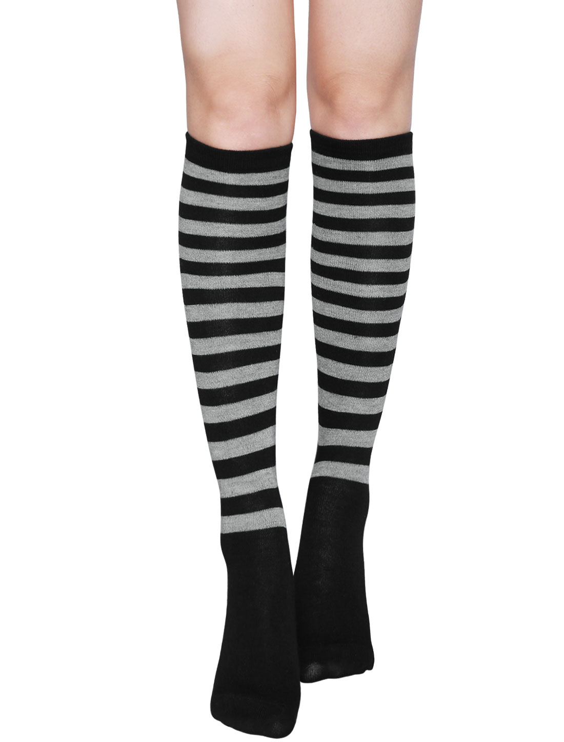 Ladies Stripes Contrast Color Knee High Socks Pair Gray