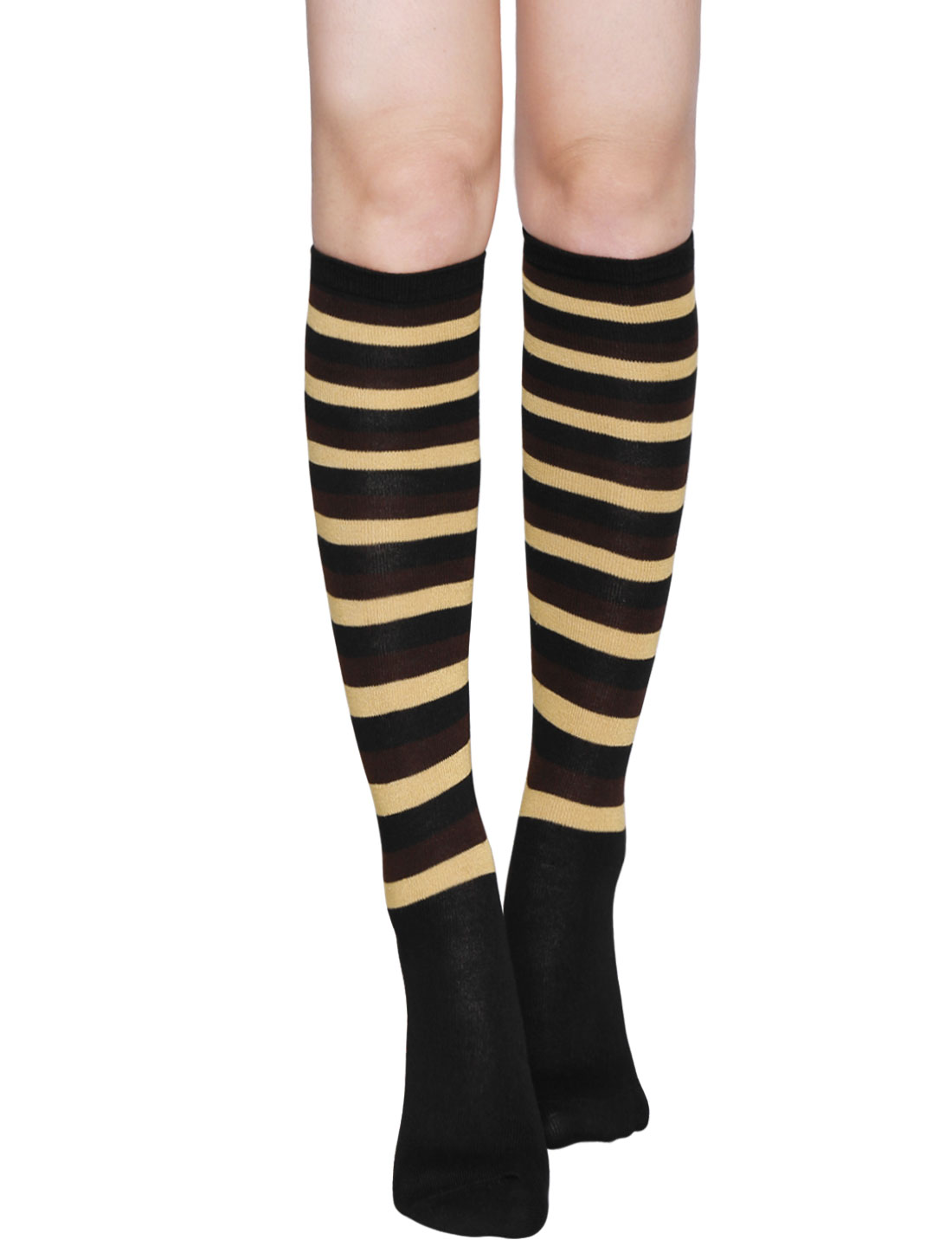 Ladies Stripes Contrast Color Knee High Socks Pair Brown
