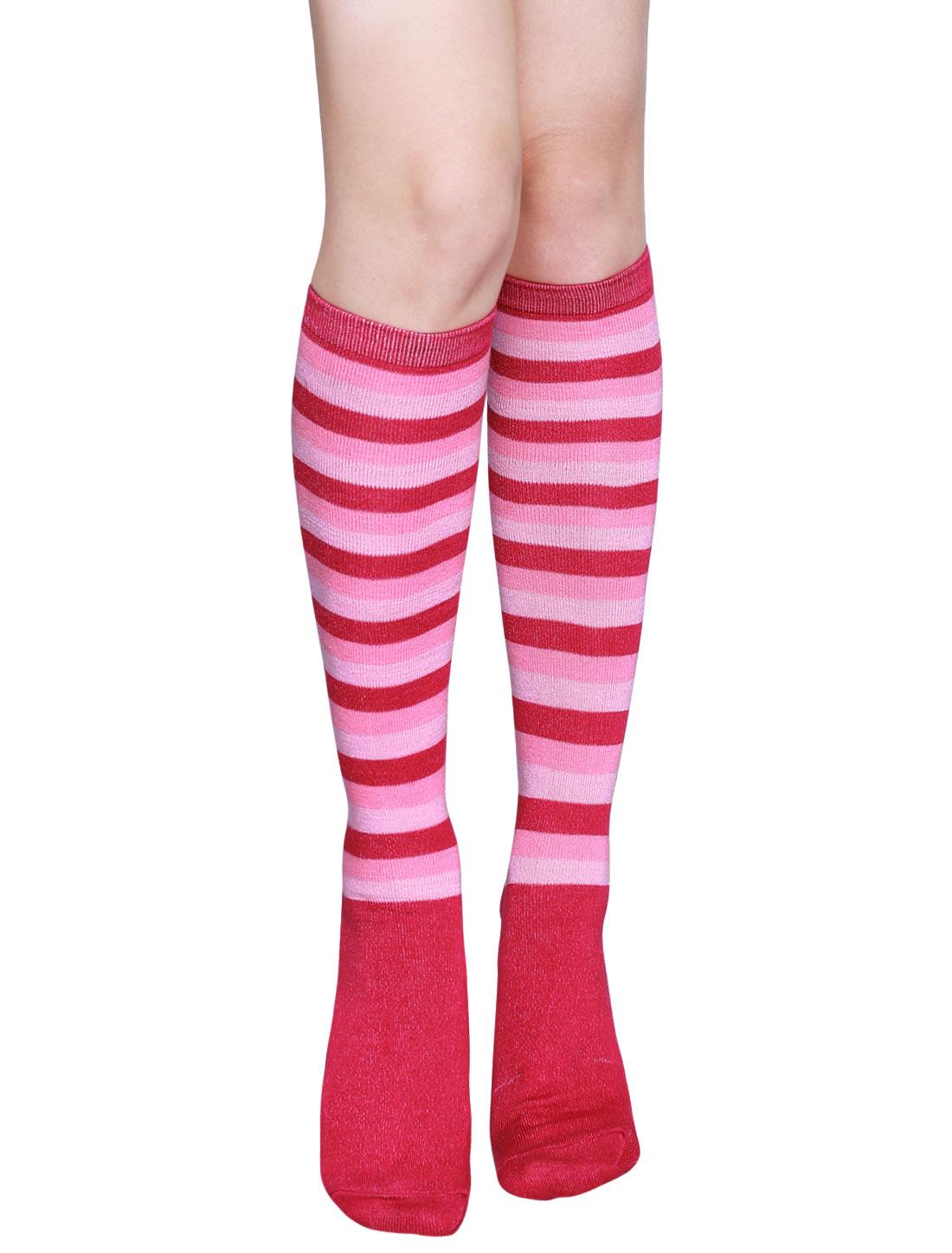 Ladies Stripes Contrast Color Knee High Socks Pair Pink