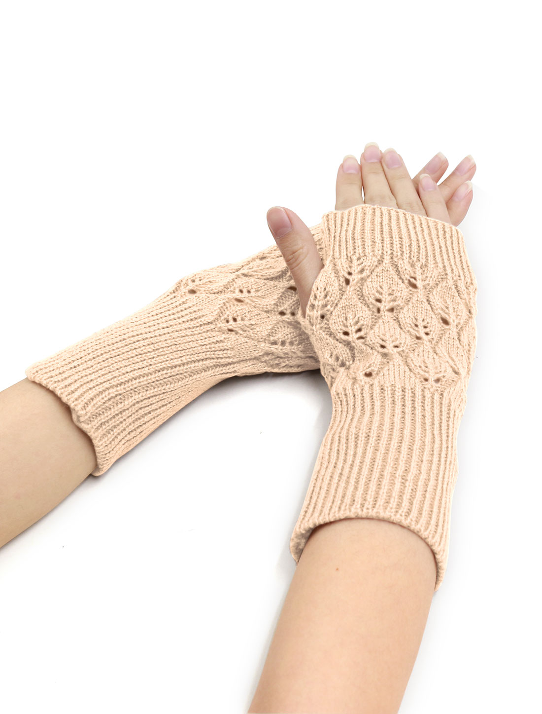 Women Wrist Length Leaves Design Knit Arm Warmers Pair Beige