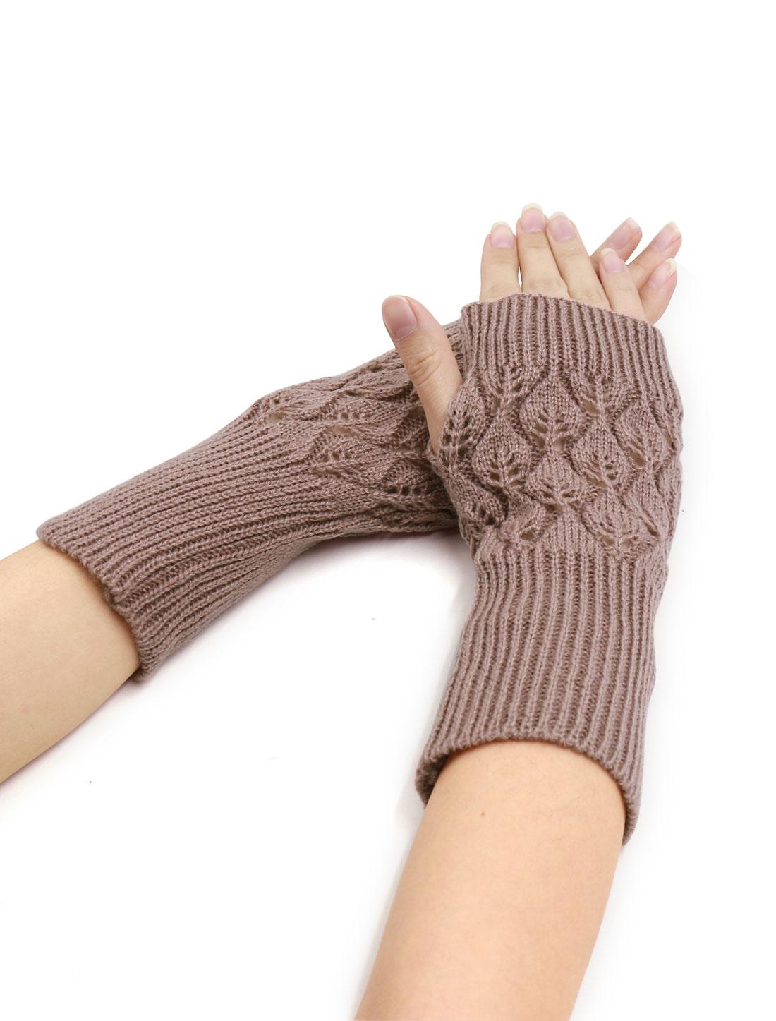 Women Wrist Length Leaves Design Knit Arm Warmers Pair Purple