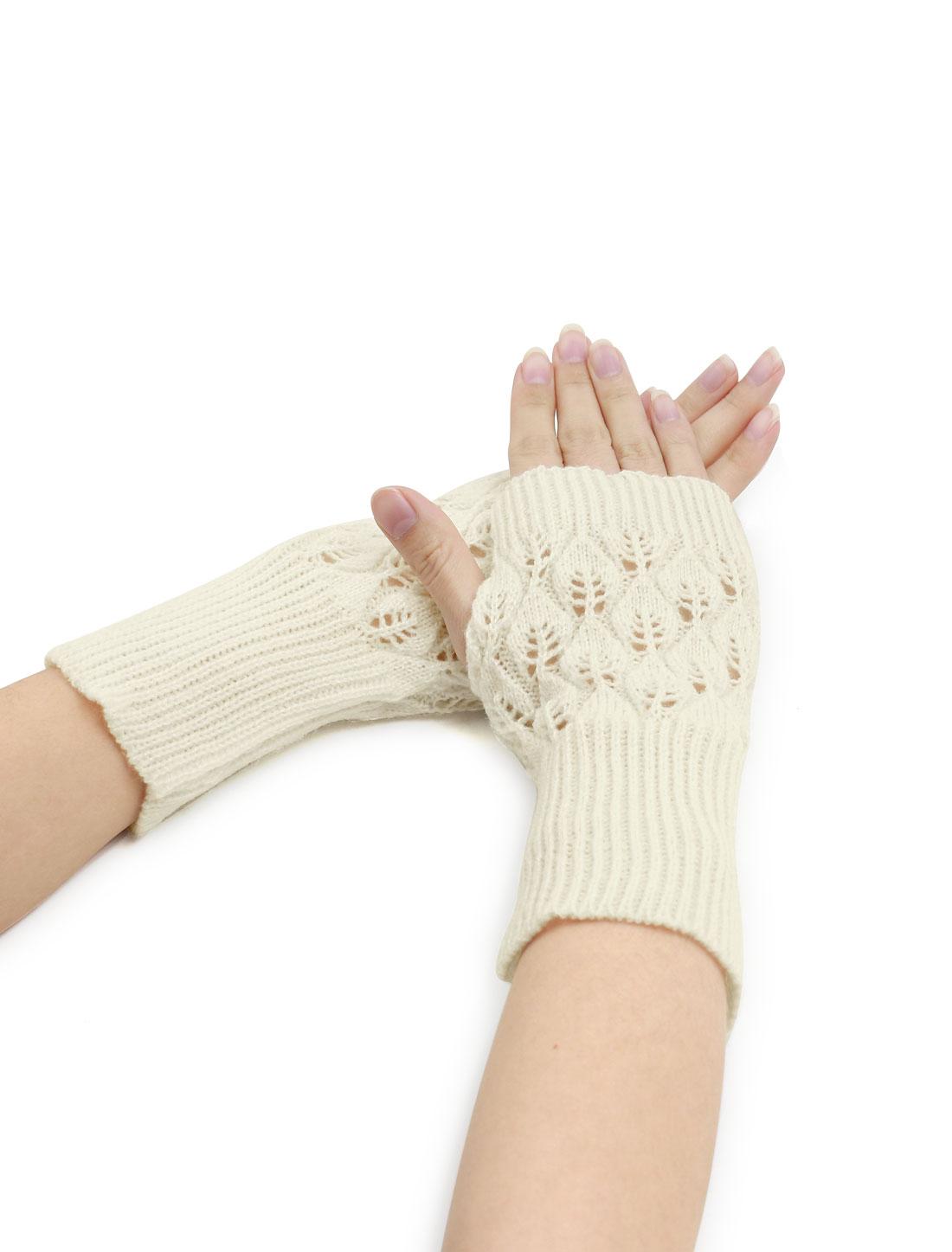 Women Wrist Length Leaves Design Knit Arm Warmers Pair White