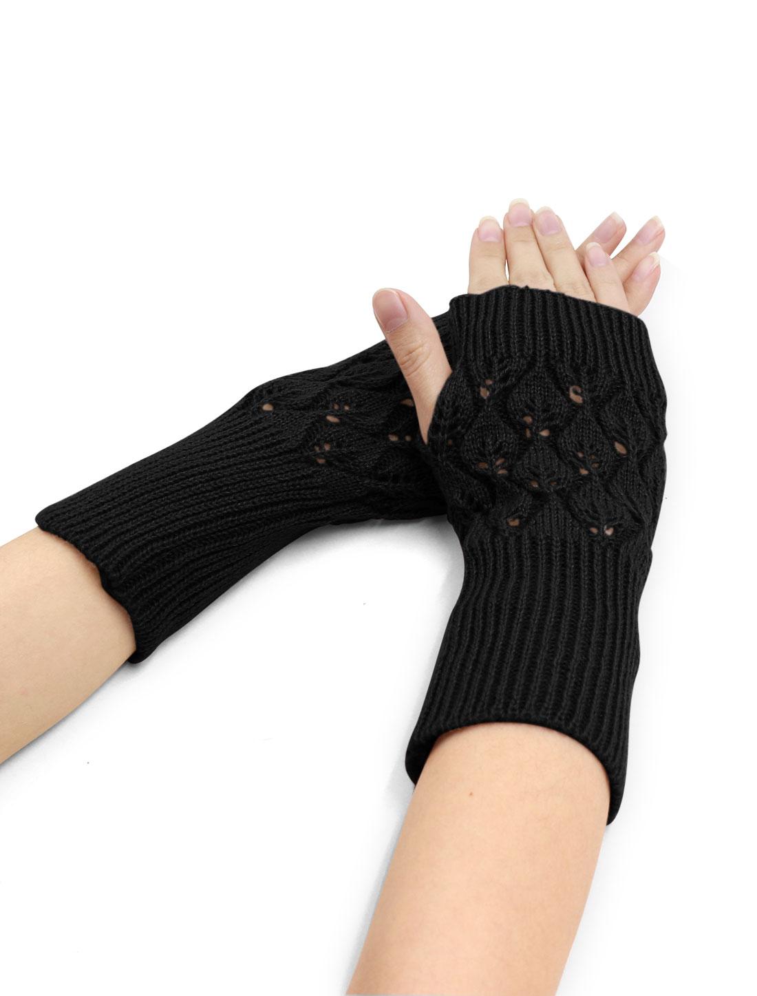 Women Wrist Length Leaves Design Knit Arm Warmers Pair Black