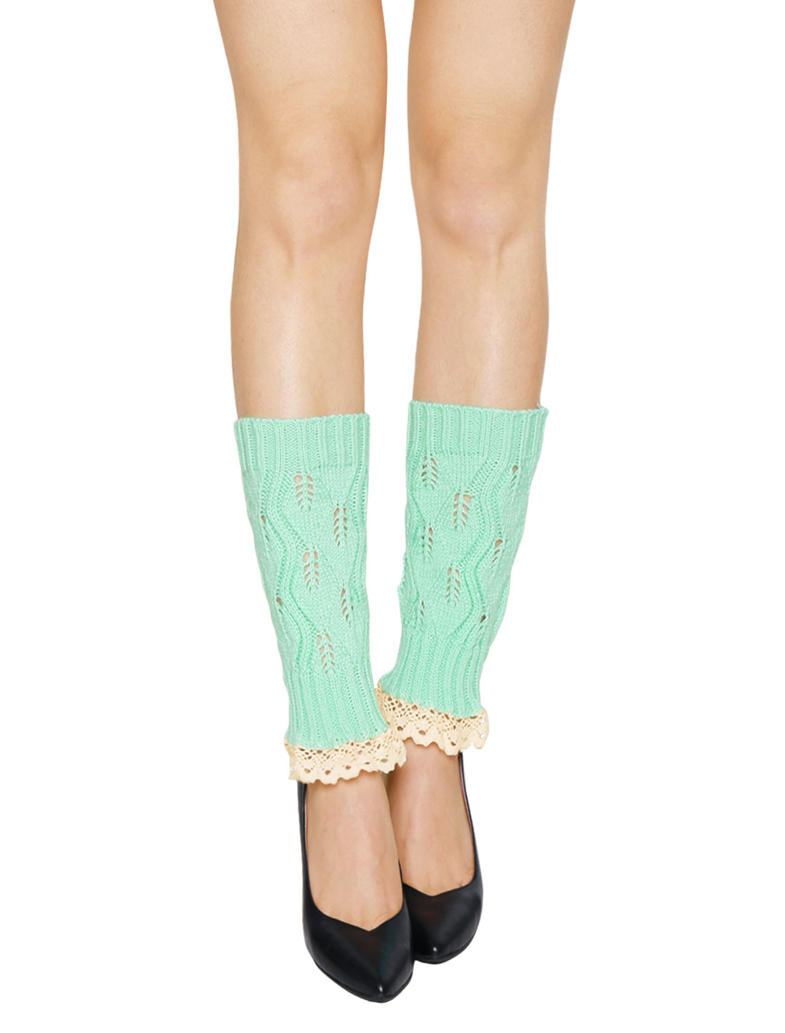 Women Lace Trim Ribbed Hollow Out Knitted Leg Warmers Pair Mint