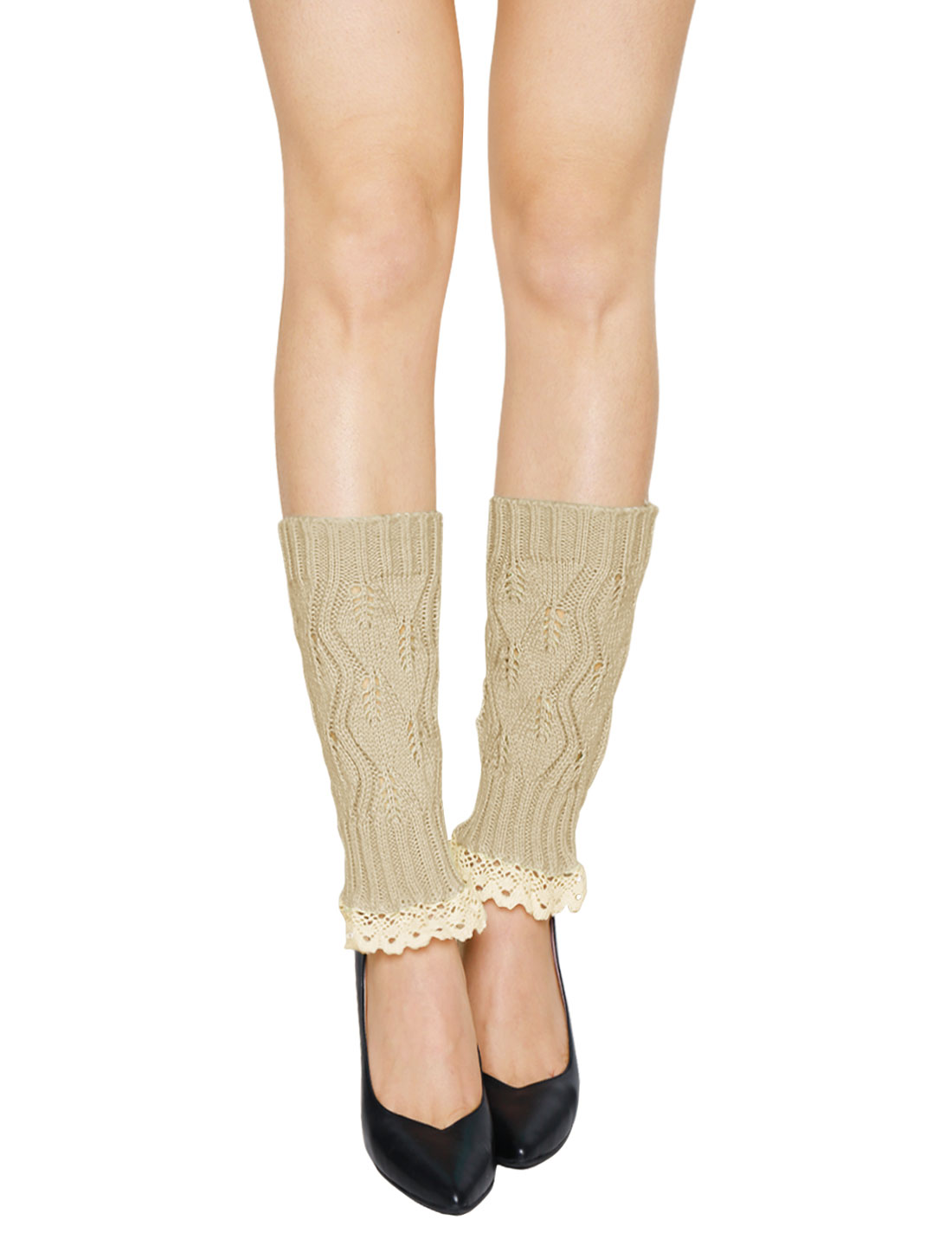 Women Lace Trim Ribbed Hollow Out Knitted Leg Warmers Pair Beige