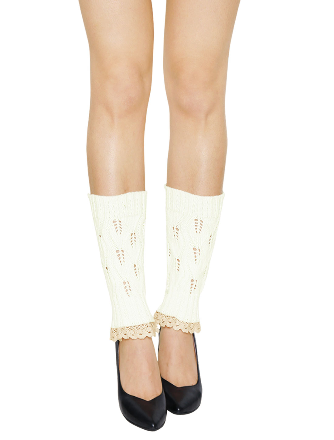 Women Lace Trim Ribbed Hollow Out Knitted Leg Warmers Pair White