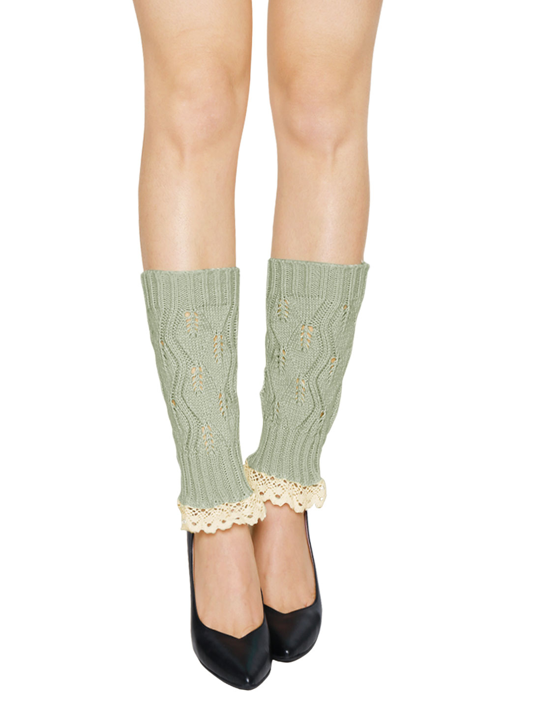 Women Lace Trim Ribbed Hollow Out Knitted Leg Warmers Pair Light Gray