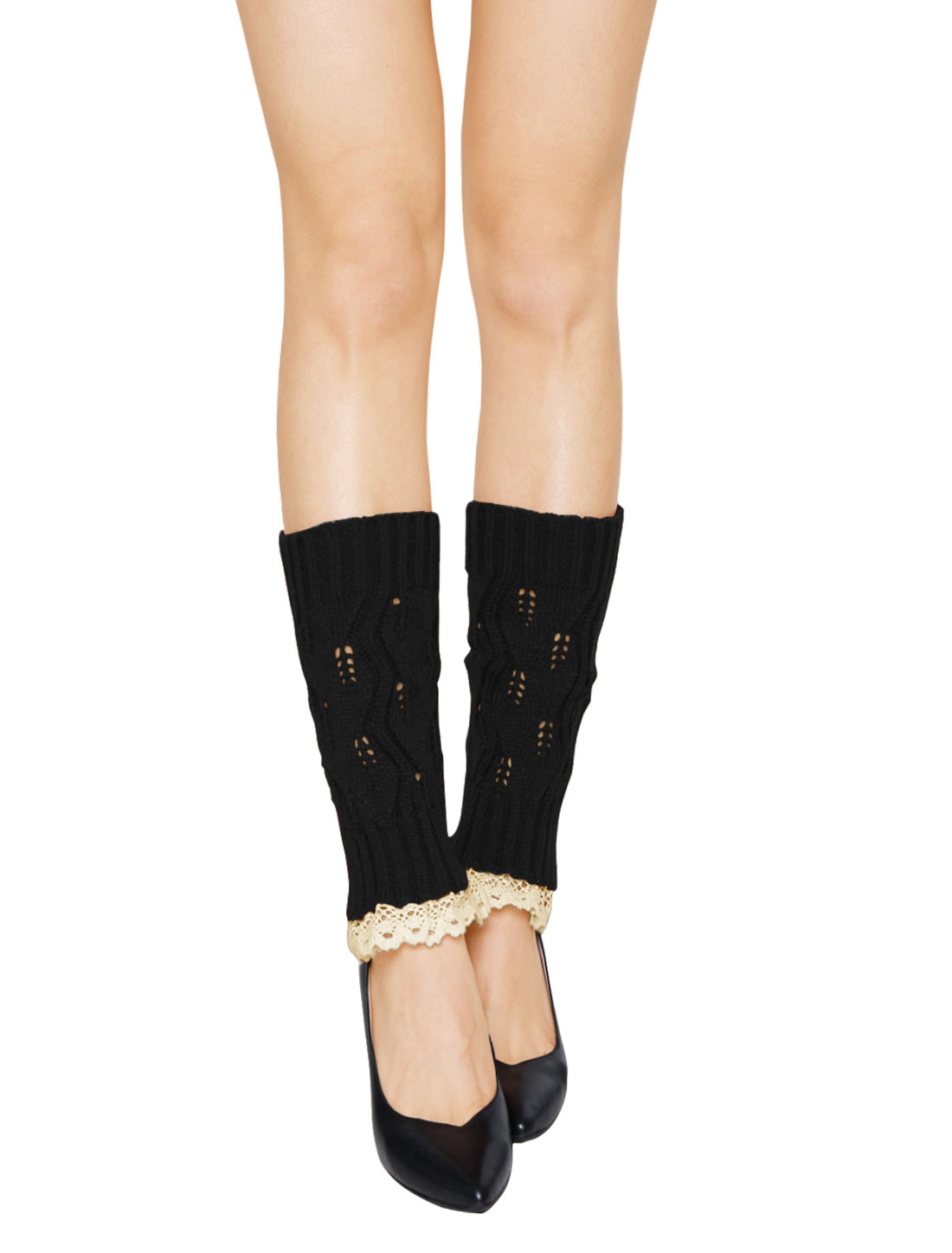 Women Lace Trim Ribbed Hollow Out Knitted Leg Warmers Pair Black