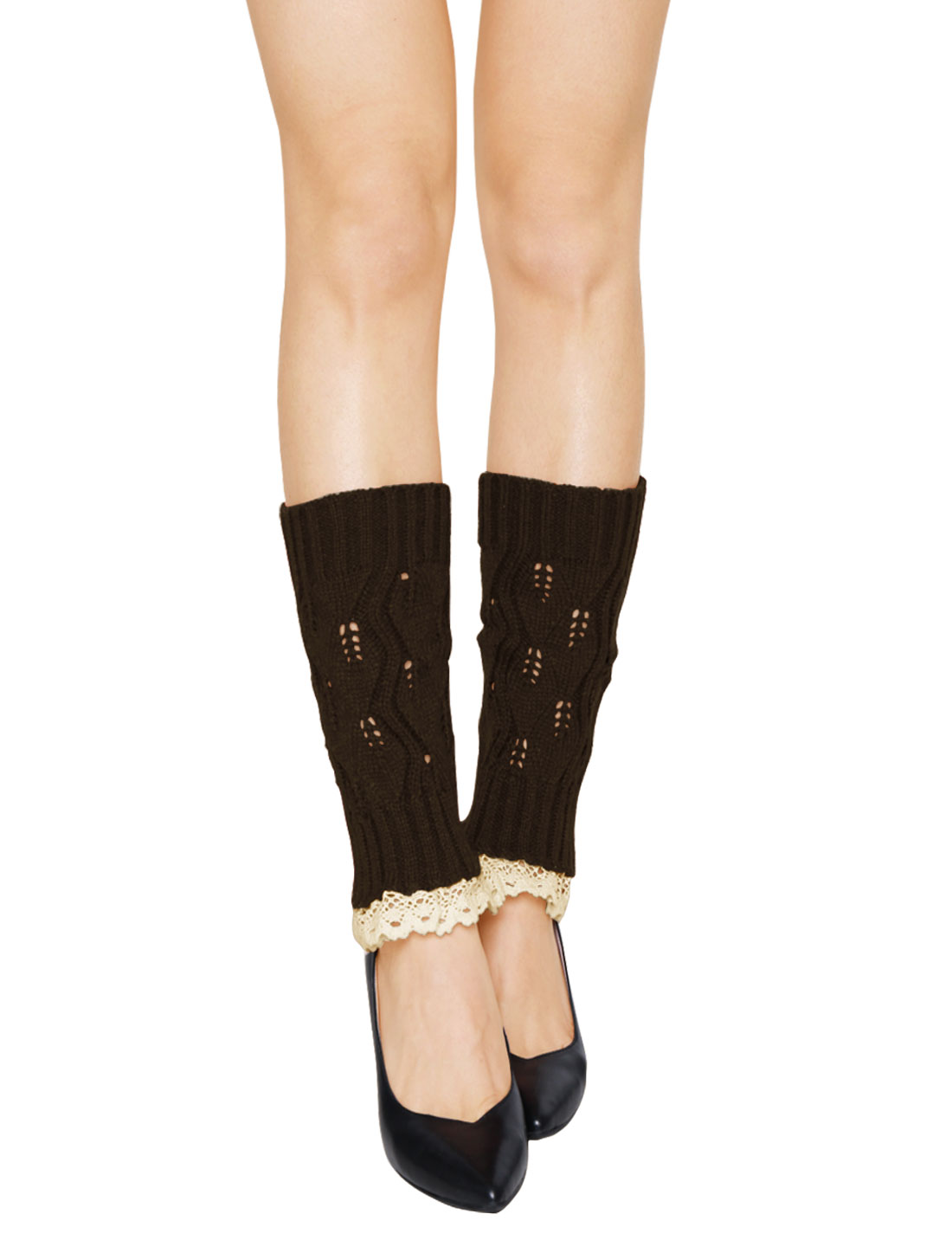 Women Lace Trim Ribbed Hollow Out Knitted Leg Warmers Pair Coffee