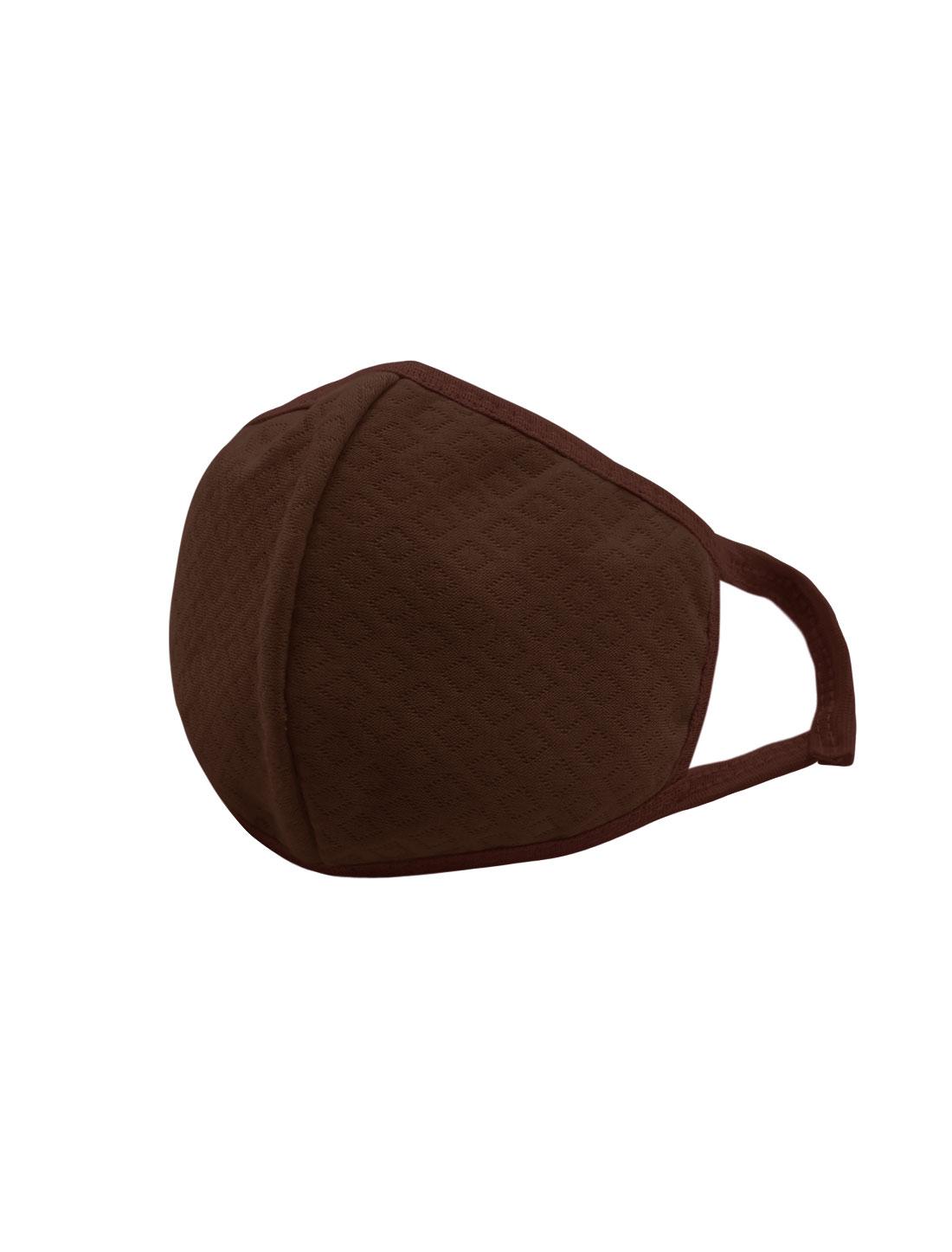 Unisex Elastic Earloops Argyle Design Anti-dust Mouth Mask Coffee