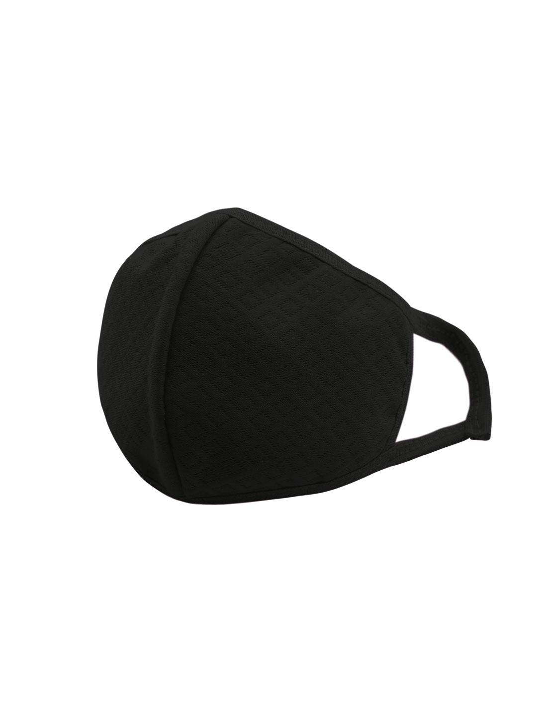 Unisex Elastic Earloops Argyle Design Anti-dust Mouth Mask Black