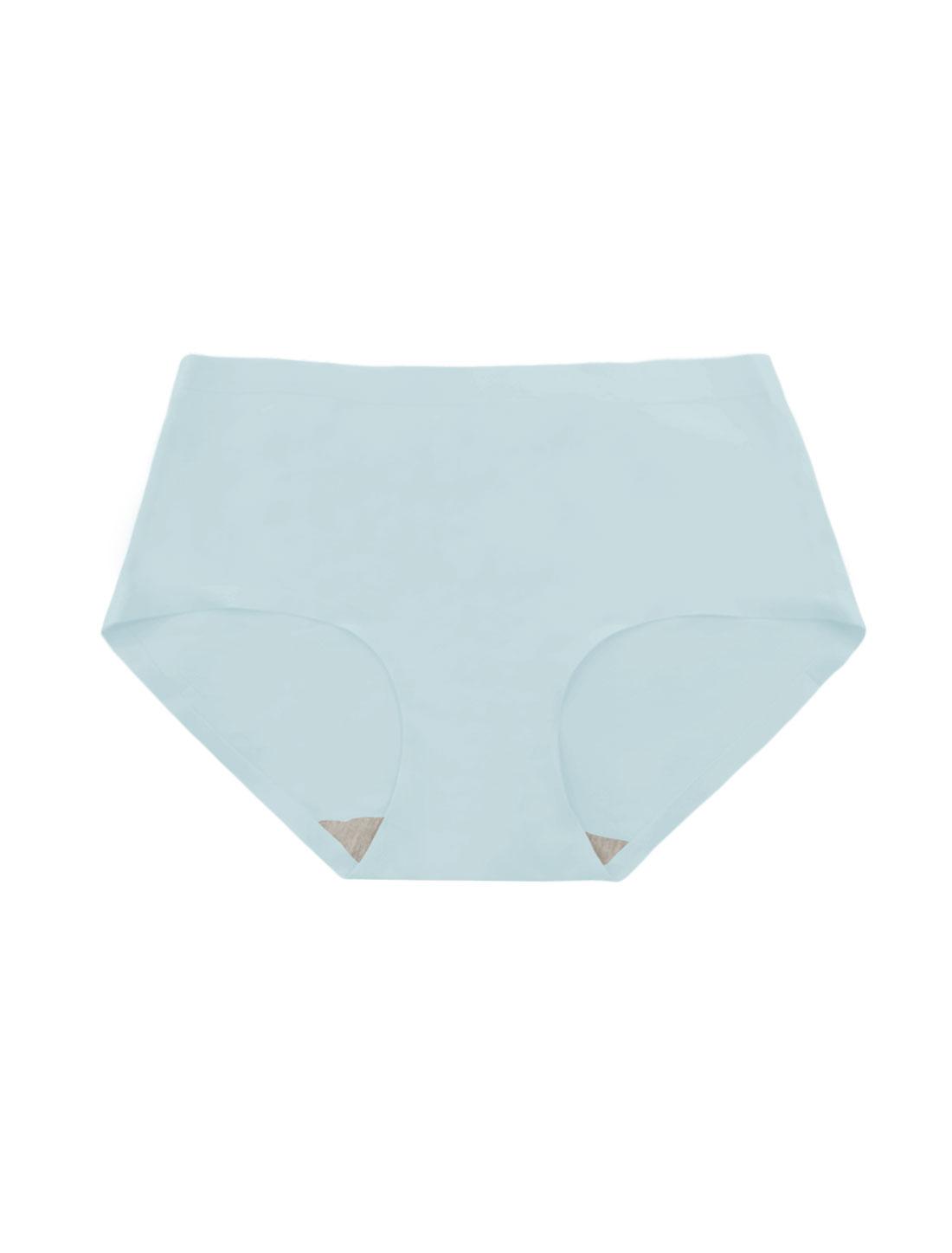 Women Mid Rise Elastic Waist Seamless Stretchy Panty Light Blue XS
