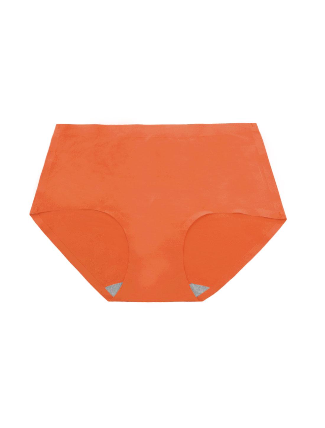 Women Mid Rise Elastic Waist Seamless Stretchy Panty Dark Orange XS