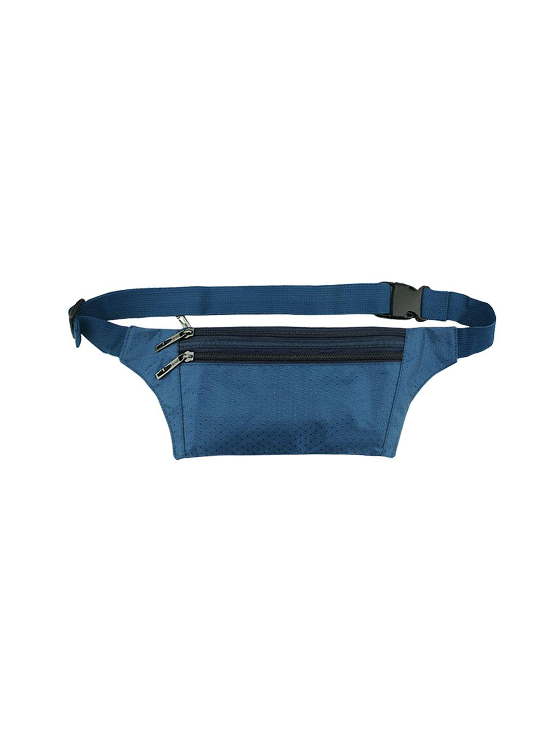 Unisex Three Zipper Pockets Argyle Design Waist Bag Dark Blue