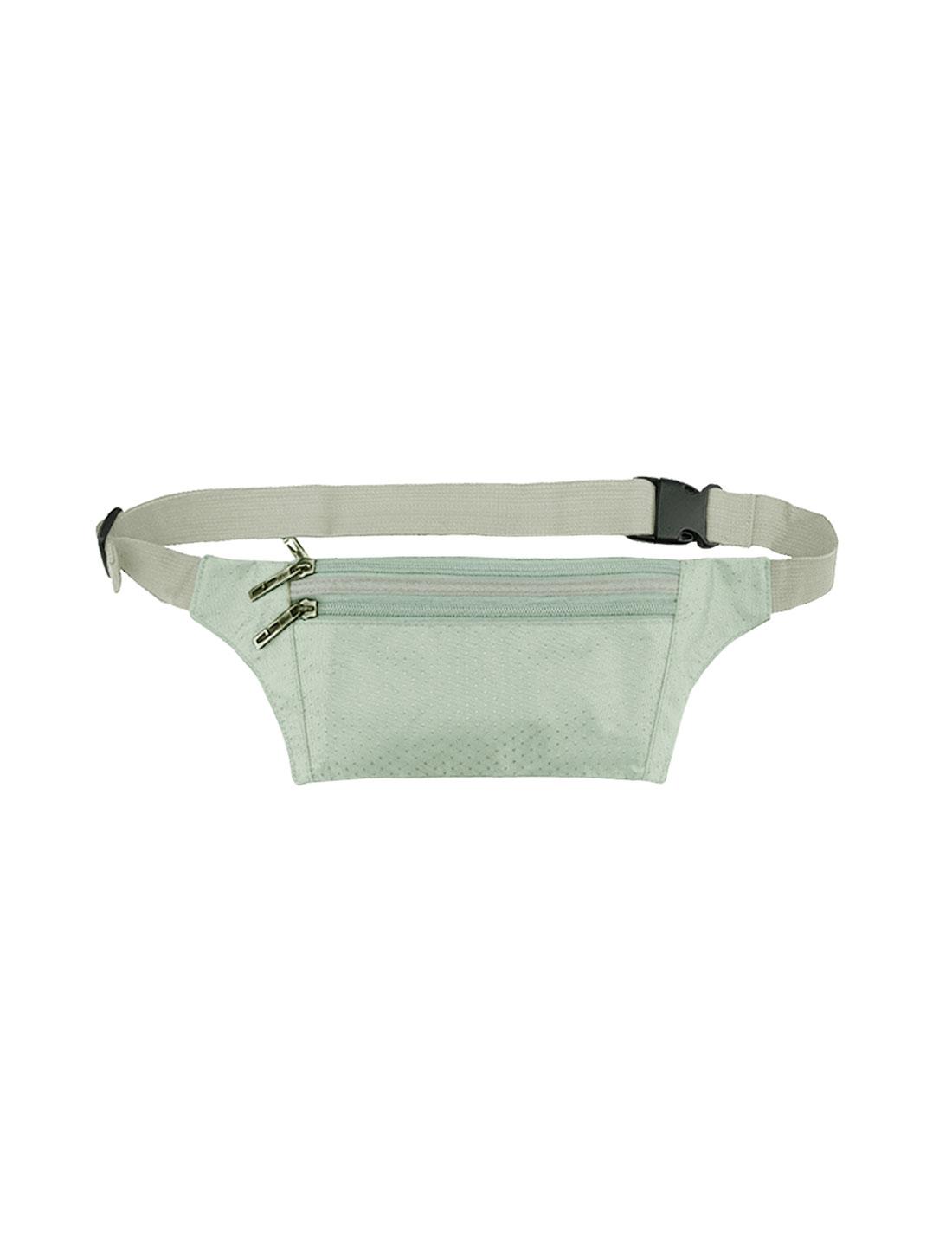 Unisex Three Zipper Pockets Argyle Design Waist Bag Silver