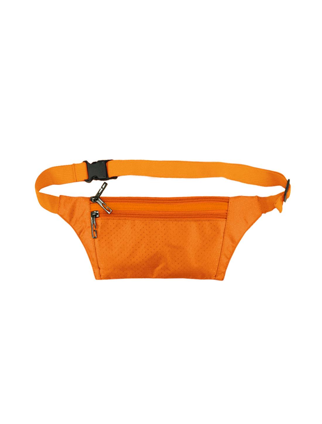Unisex Three Zipper Pockets Argyle Design Waist Bag Orange
