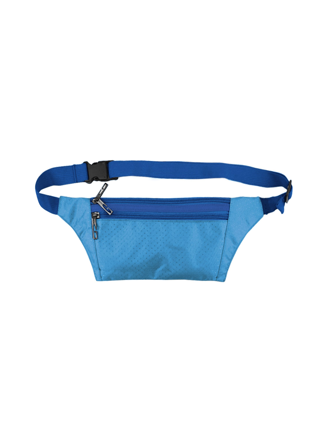 Unisex Three Zipper Pockets Argyle Design Waist Bag Sky Blue