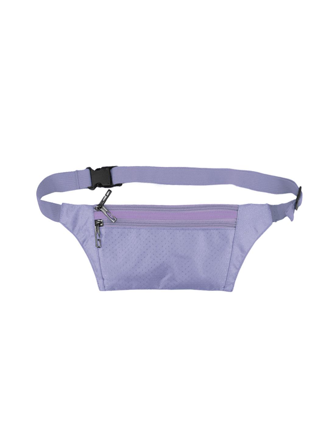 Unisex Three Zipper Pockets Argyle Design Waist Bag Purple