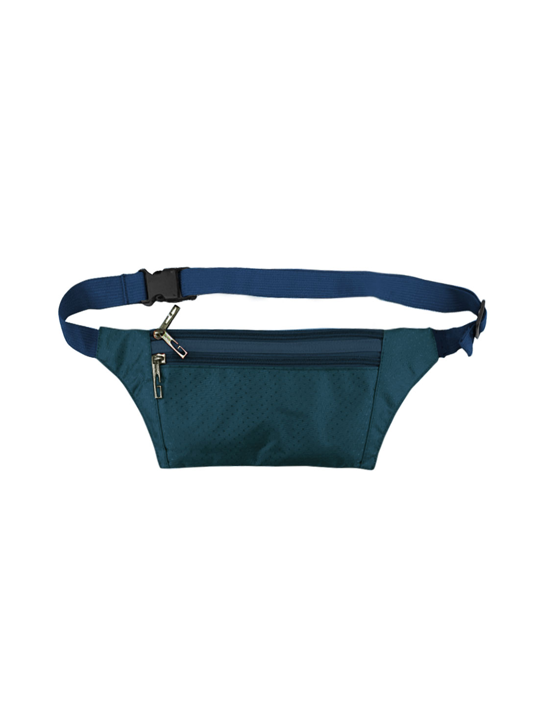 Unisex Three Zipper Pockets Argyle Design Waist Bag Navy Blue