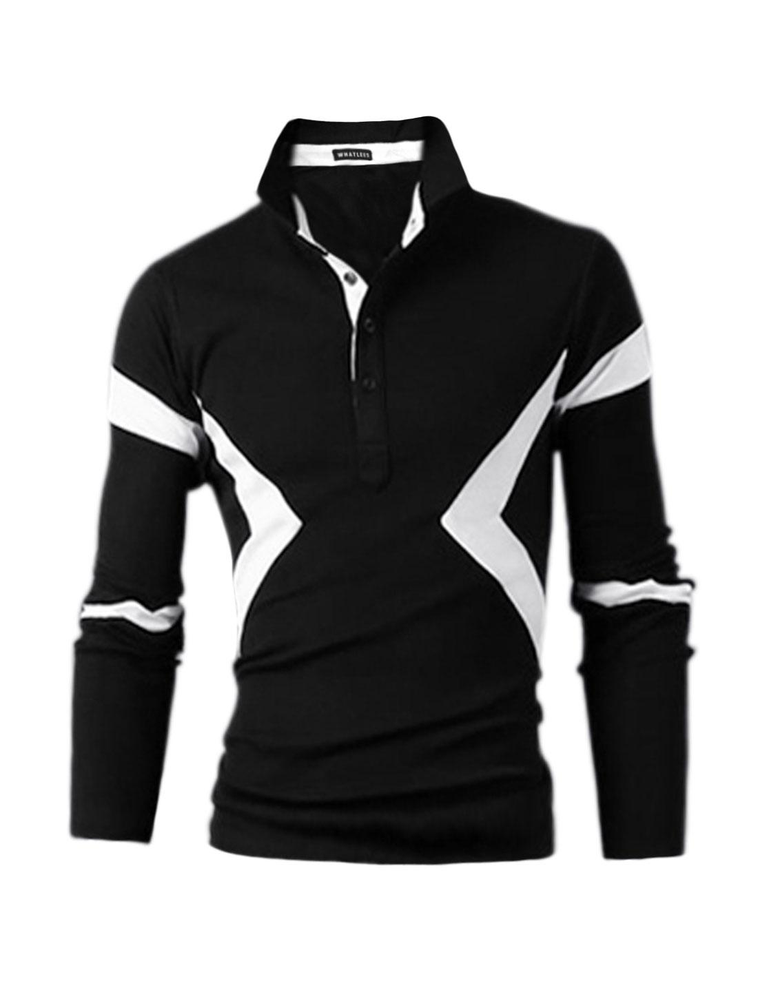 Men Contrast Color Half Placket Slim Fit Polo Shirt Black M