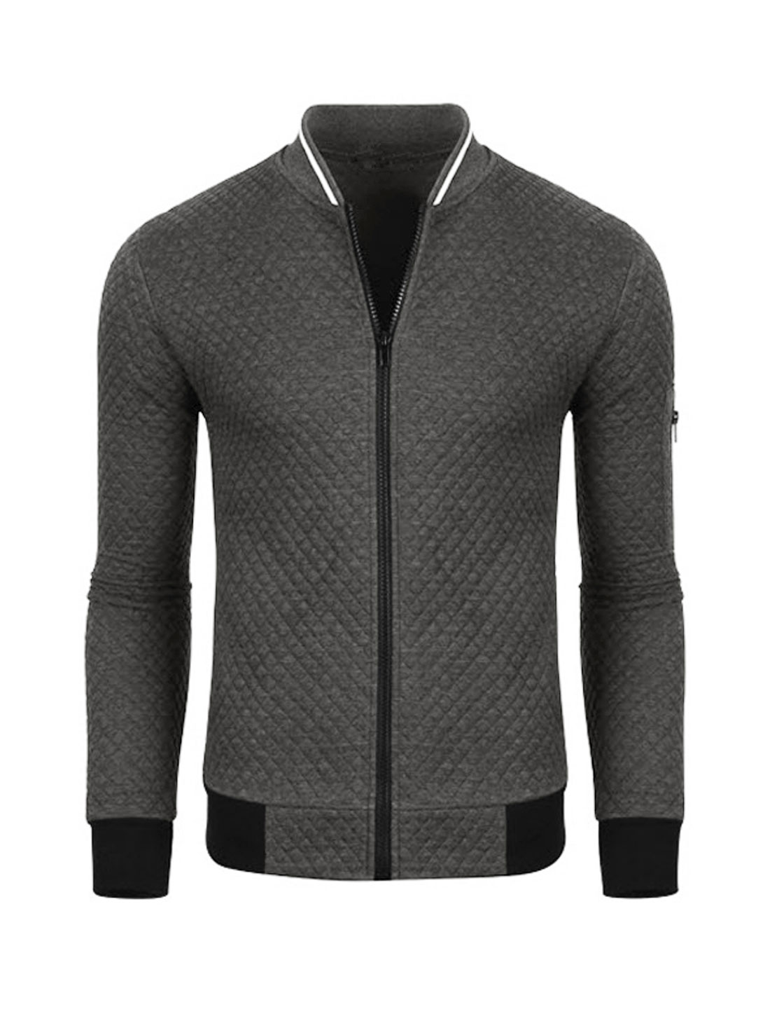Men Zip Up Long Sleeves Stand Collar Quilted Jacket Gray M