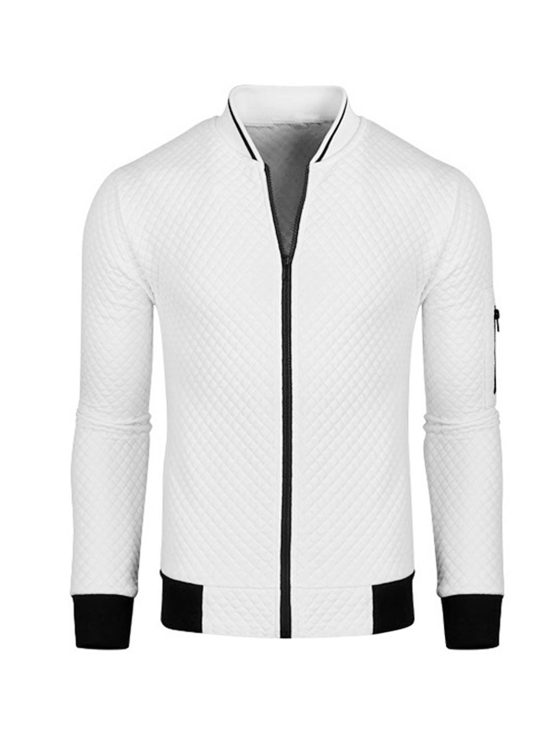 Men Zip Up Long Sleeves Stand Collar Quilted Jacket White M