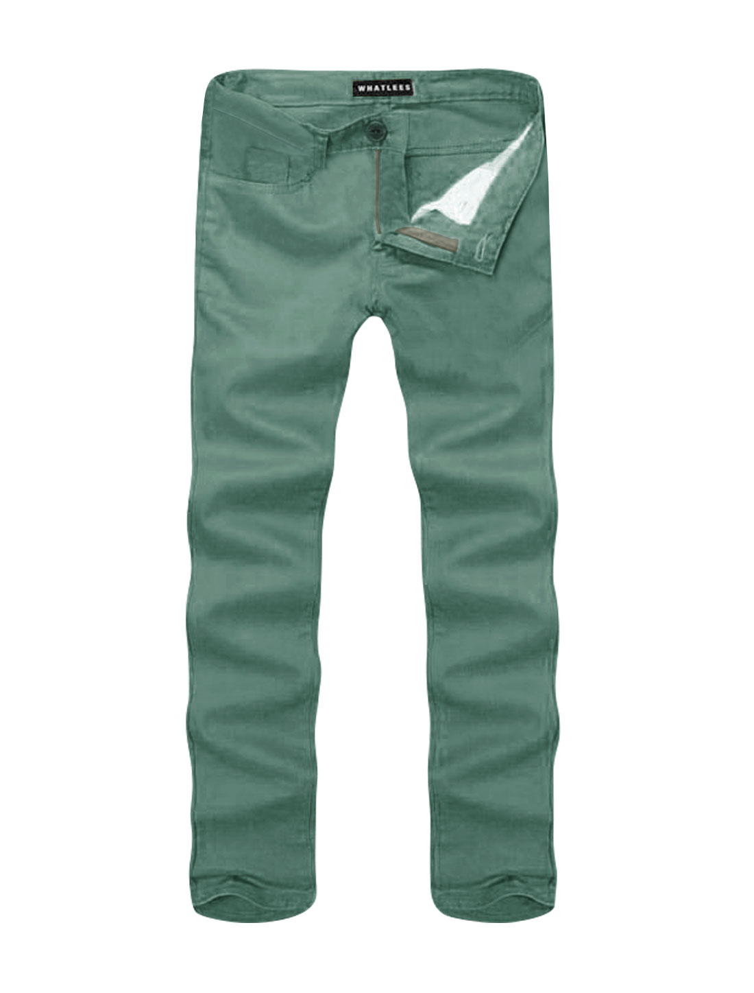 Men Mid Rise Zip Fly Side Pockets Straight Leg Casual Pants Gray W36