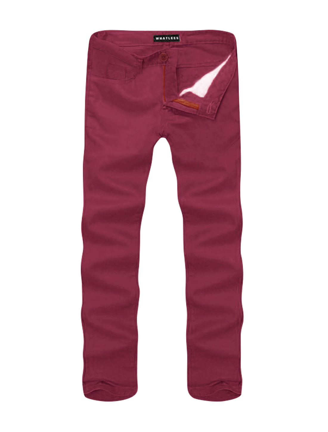 Men Mid Rise Zip Fly Side Pockets Straight Leg Casual Pants Red W36