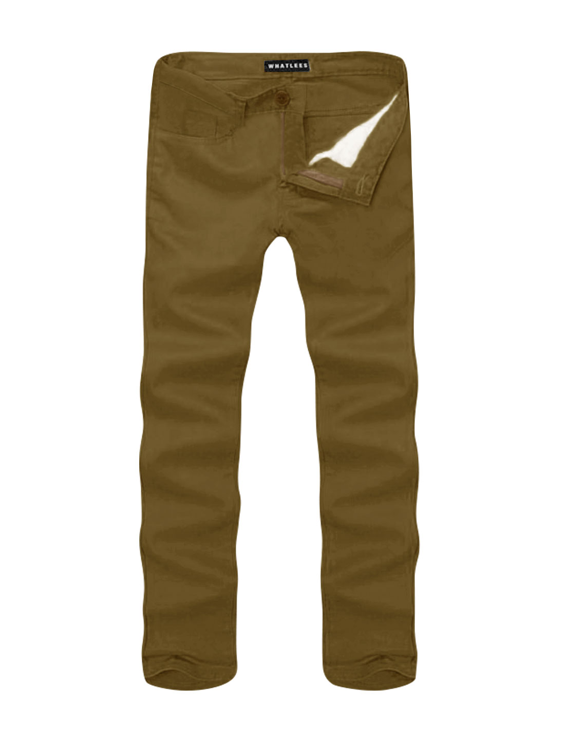 Men Mid Rise Zip Fly Side Pockets Straight Leg Casual Pants Brown W36