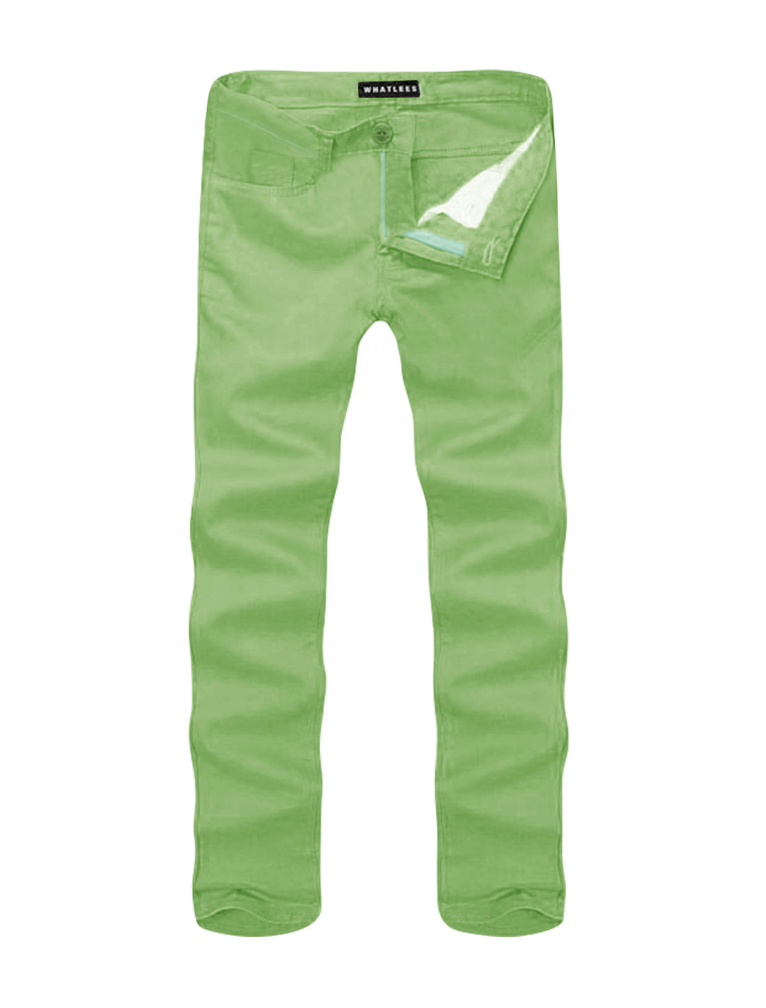 Men Mid Rise Zip Fly Side Pockets Straight Leg Casual Pants Green W36