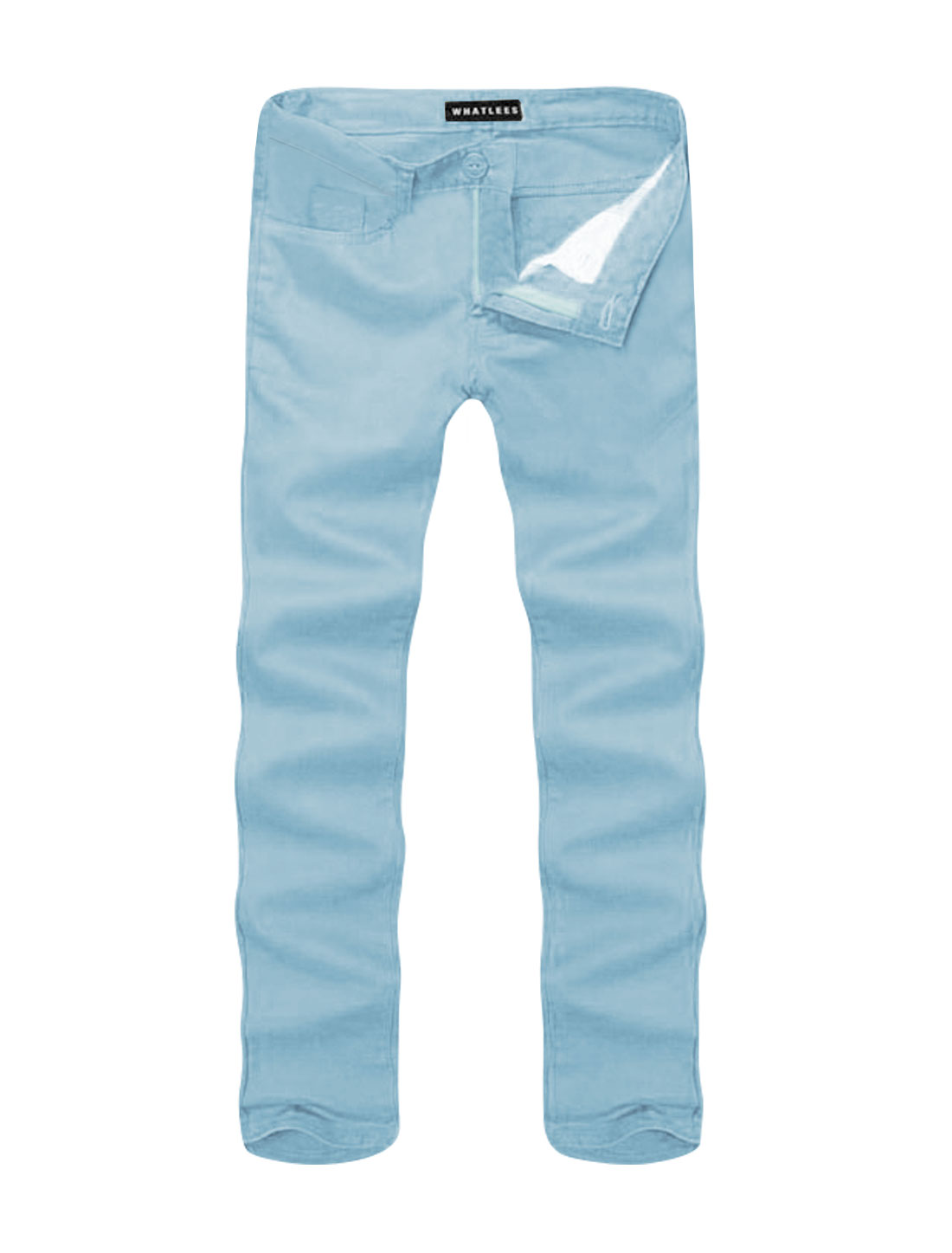 Men Mid Rise Zip Fly Side Pockets Straight Leg Casual Pants Light Blue W36